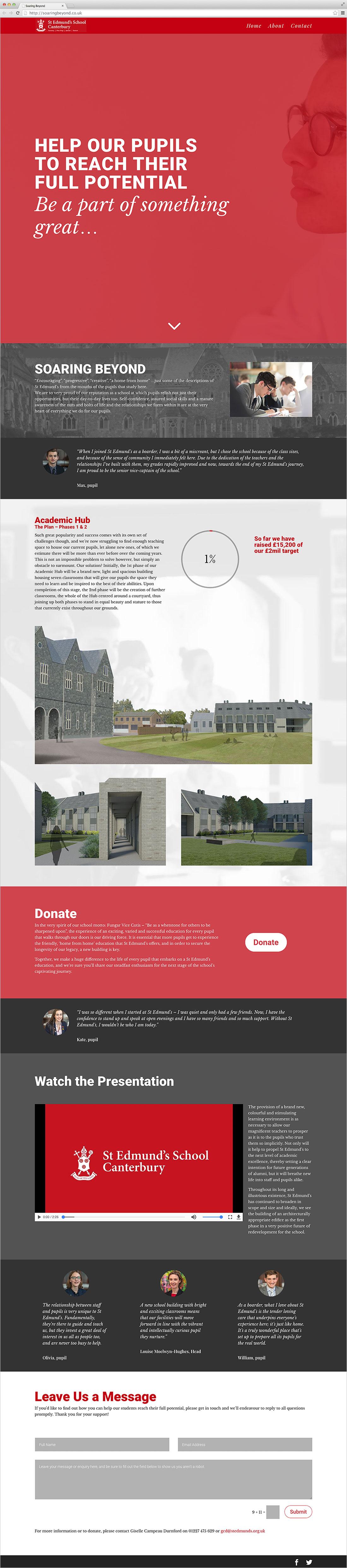 Website for St Edmund's School, Canterbury Elbowroom Graphics