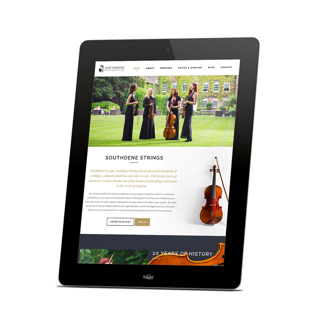 Southdene Strings website design Elbowroom Graphics