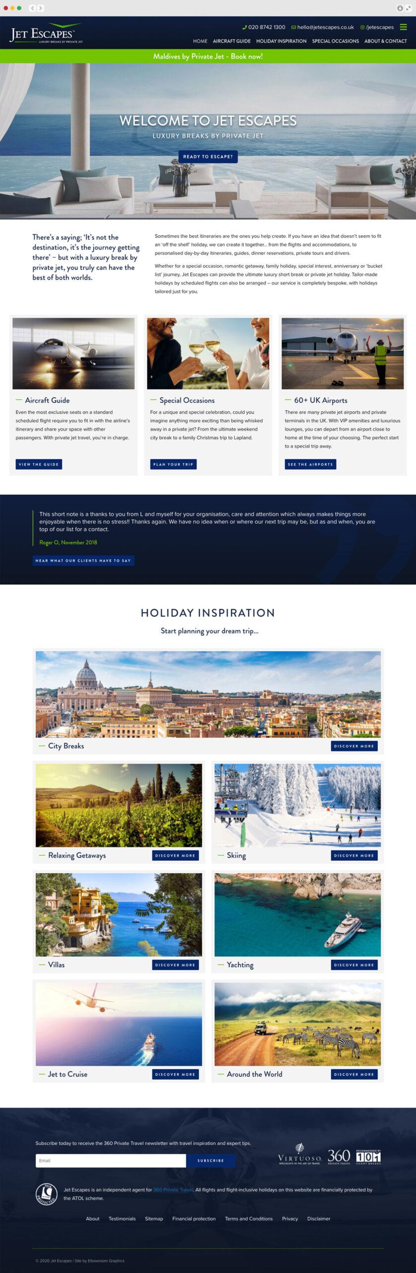 Jet Escapes website Elbowroom Graphics